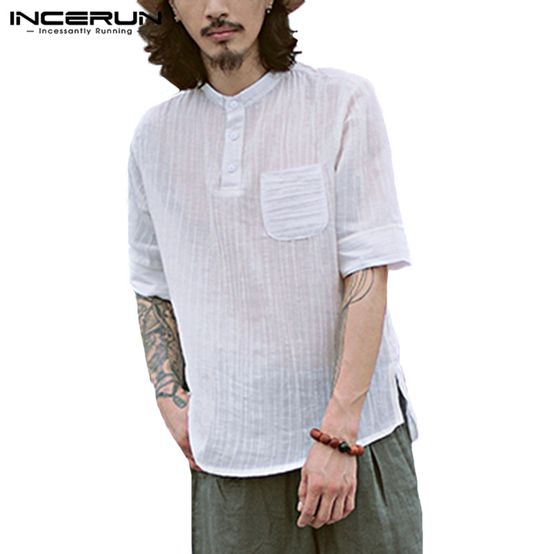 INCERUN Summer Fashion Short Sleeve T Shirt Men Button Solid Color Leisure Tshirt 2019 Loose Casual Mens Thin T-shirt Camisetas
