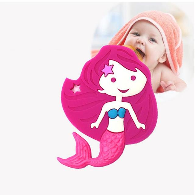 BPA Free Baby Food Grade Silicone Teether Toy Infant Mermaid Bite Teeth Stick Newborn Cute Dental Care Toy Portable Mini Tool