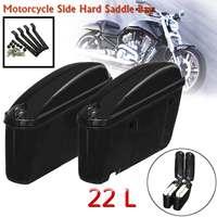 Motorcycle Saddlebags 22L Side Hard Trunk Luggage Tool Storage Suitcase for Honda/Yamaha/Suzuki