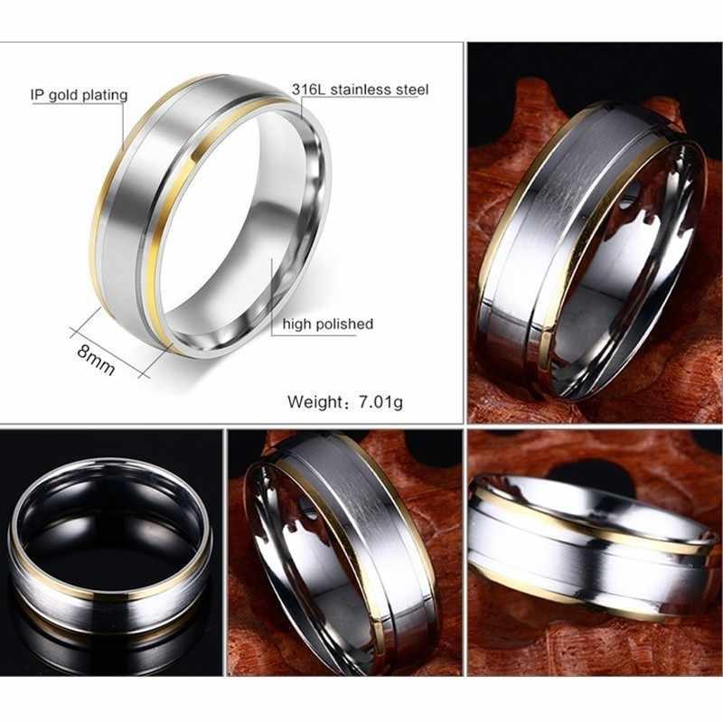 Vnox классические мужские обручальные кольца кольцо 8 мм матовая отделка нержавеющая сталь Золото и серебро тон юбилей