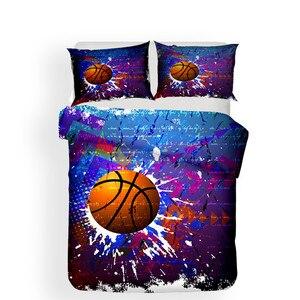 Image 2 - מצעי סט 3D מודפס שמיכה כיסוי מיטת סט כדורסל טקסטיל מבוגרים כמו בחיים מצעי עם ציפית # LQ05