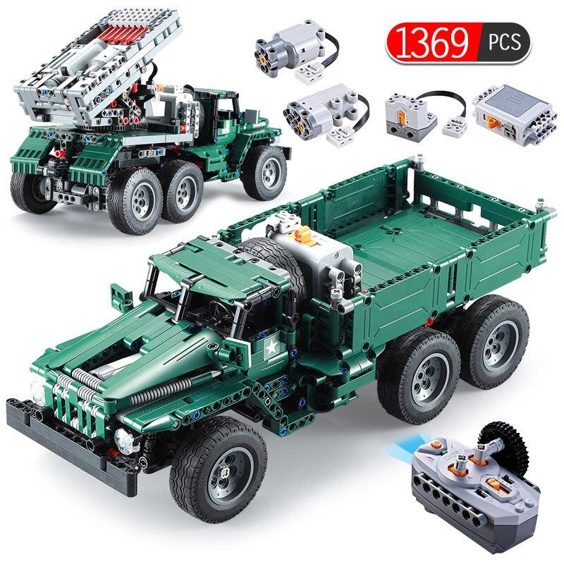 1369 pièces RC lance-roquettes camion voiture Legoings technique militaire ville voiture puissance fonction MOC blocs de construction briques jouets pour garçon