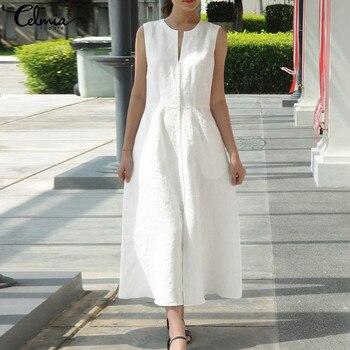 d50944f33 Celmia mujeres ropa Vintage vestido Maxi verano 2019 Sexy cuello V vestido  sin mangas con cinturón suelto de fiesta de encaje Vestidos Plus tamaño