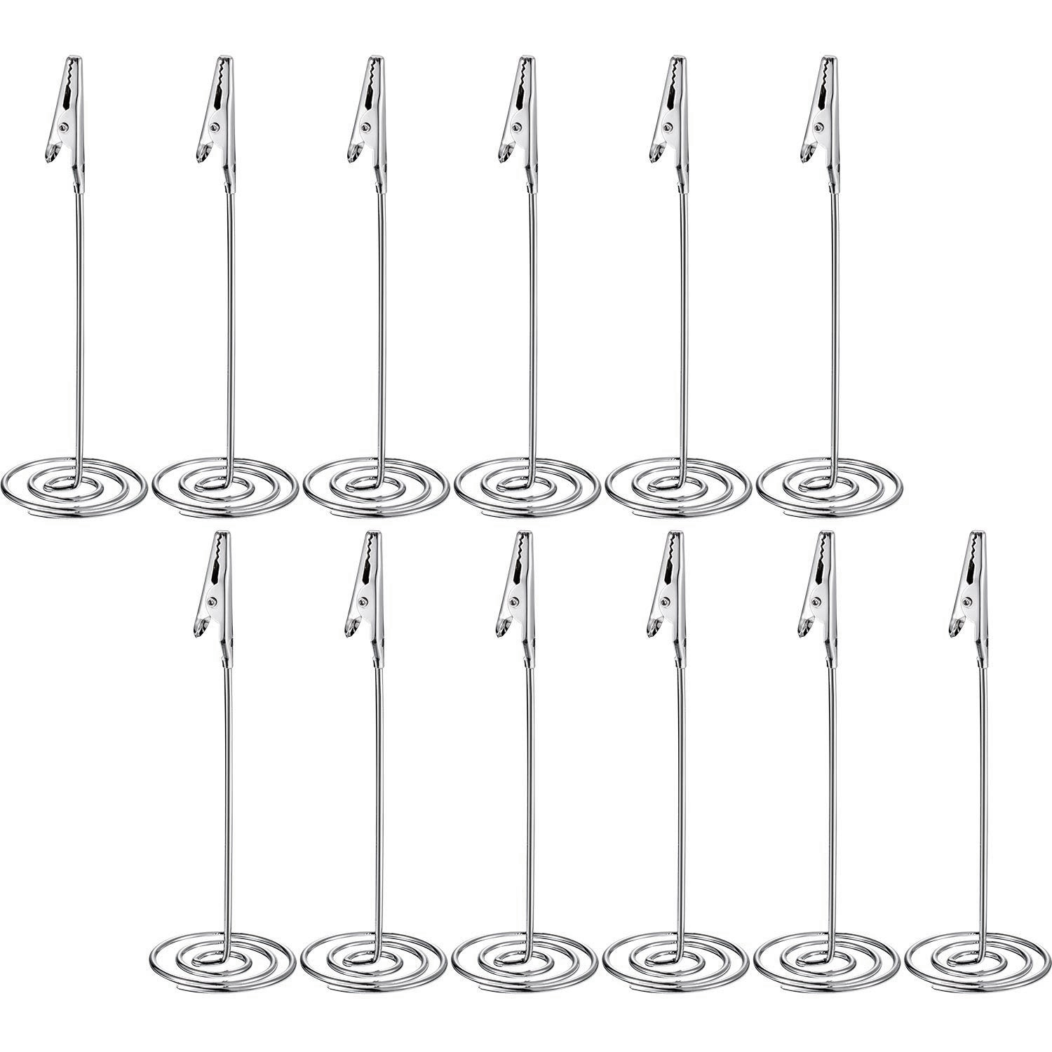 12 Packs Table Number Card Holders With Alligator Clip Photo Memo Holder Clips For Wedding Party Favor (Silvery)