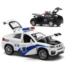 1/32 High Simulation BM W X6 Metal Diecast Vehicle Alloy Toy Police Car Sound And Light Pull Back Model Toys For Childrens