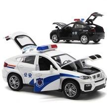 Jouet en alliage pour enfants, haute Simulation 1/32, véhicule en métal moulé, véhicule de Police, son et lumière, tirer vers le bas, jouets pour enfants, haute Simulation BM W X6