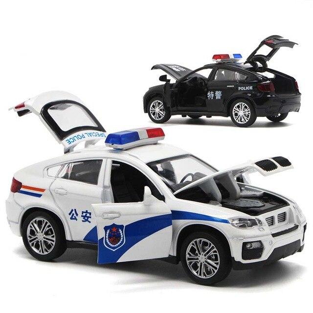 Vehículo de juguete de BM W X6 de alta simulación para niños, juguete de aleación de Metal fundido a presión, coche de policía con sonido y luz, modelo de juguete para niños, 1/32