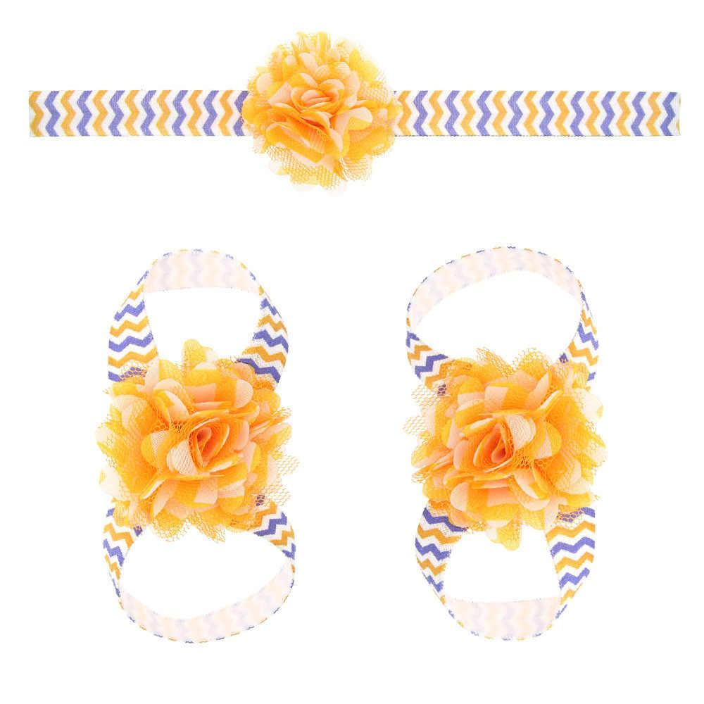 Maya stepan 1 peça crianças bebê listrado chiffon flor cabeça de cabelo banda pé flor recém-nascido corda cabelo headwrap