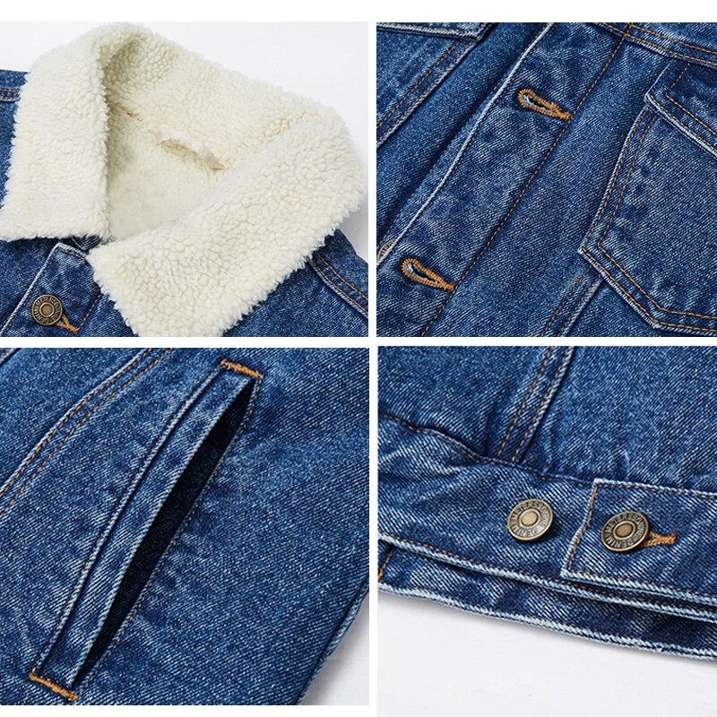 Hiver Taille La Automne Outwear Femmes dark Longues light Formiko 4xl Nouvelle Jean Blue Noir Blue En Chaud Manteau Plus Manches Laine D'agneau Veste Printemps dx8xTaqSw0