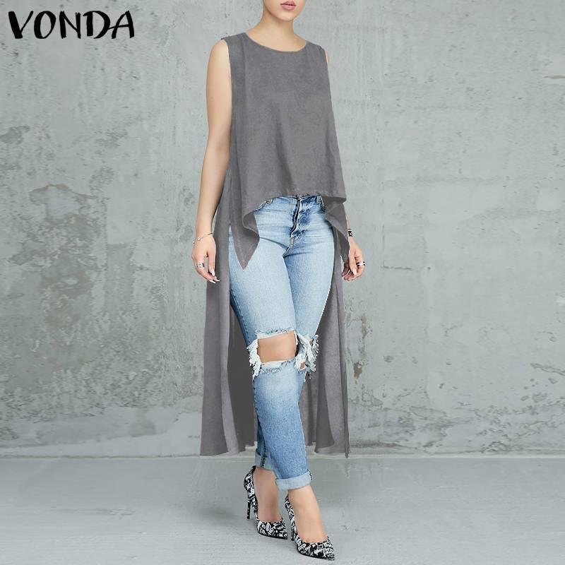 VONDA Women Blouses 2019 Sexy O Neck Sleeveless Irregular Long Tops Casual Loose Solid Shirts Blusas Femininas Plus Size