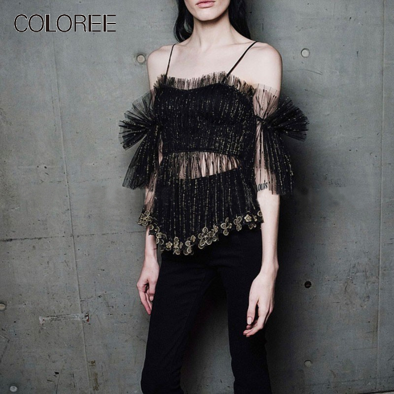 COLOREE High Grade Runway Designer Women Short Top 2019 Sexy Lace Perspective Gold Thread Embroidery Flower Club Camis Top