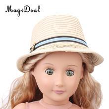 1 unid moda Vintage niñas muñecas verano playa sombrero de paja de Sun Cap 18  pulgadas nuestra generación muñecas ropa acc 91e4376c5ef