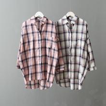 цена 2019 Summer Korean Style Women Plaid Blouses Low-high Design Casual Shirts Long Sleeve Sun-proof Cotton Linen Blouse femme