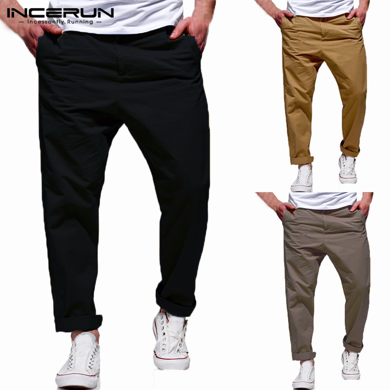 INCERUN Casual Men Pants Dress Chinos Plain Cotton Sweatpants Fashion Long Trousers Loose Fit Joggers Pantalon Masculina 3XL