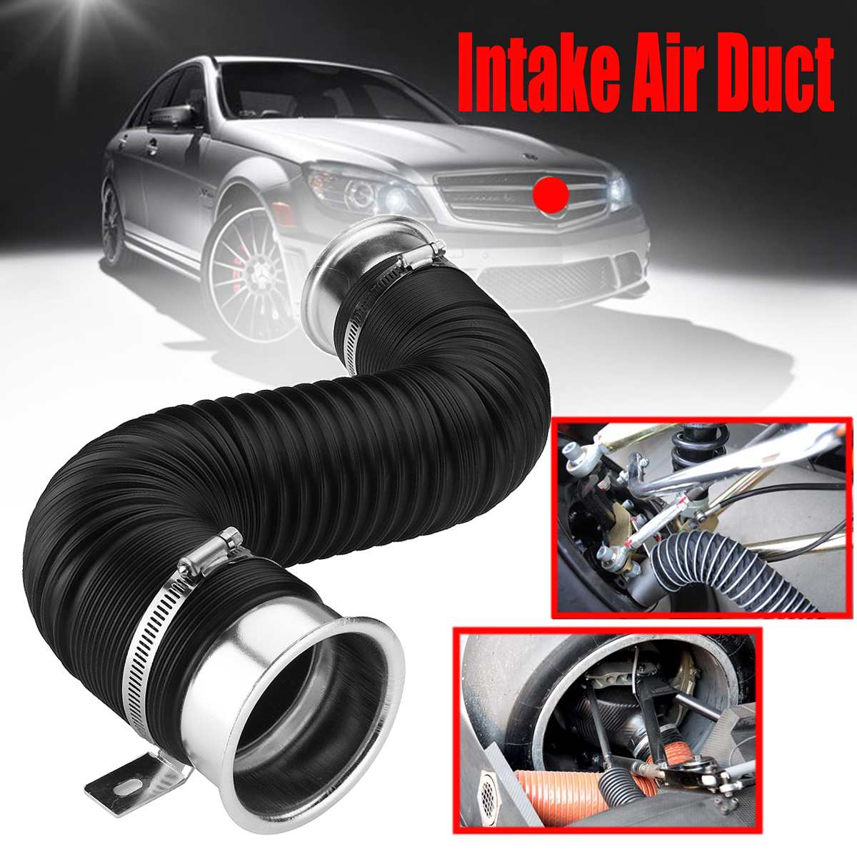 100CM Car Hood Cold Air Intake Pipe Universal 3inch Air Inlet Tube Engine Ducting Feed Hose 76MM Flexible