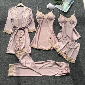Image 3 - Women Pajamas 5 Pieces Satin Sleepwear Pijama Silk Home Wear Home Clothing Embroidery Sleep Lounge Pyjama with Chest Pads