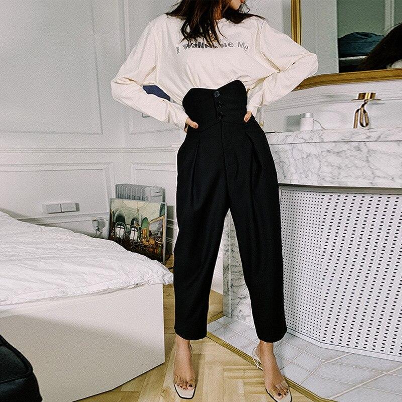 Di Vintage Casual Vita Donne Sciolto Hd290 Arrivo Pantaloni Solido Black Dritti A Alta Shengpalae 2019 Disegno Lunghi Nuova Molla Delle tgawUy6APq