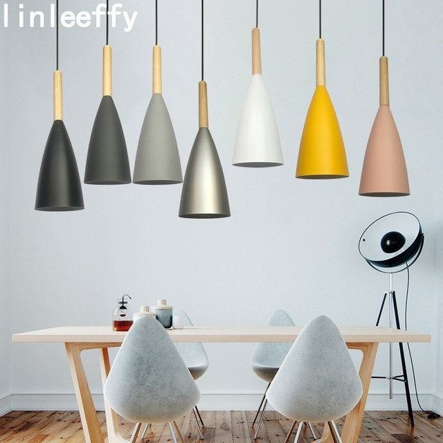 Modern Wood pendant lights Bar restaurant decor Colorful lamp Nordic Pendant Lamp Dining Room Decoration Hanging Light