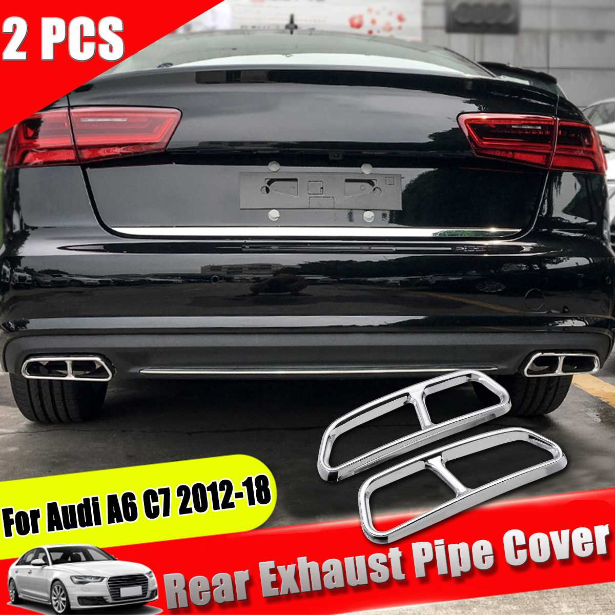 63mm-89mm Car SUV Dual Exhaust Pipe Tail Muffler Tip Anti-UV Corrosion-Resistant