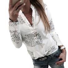 Women Spring Autumn Fashion V Neck Long Sleeve Letter Print Blouse Ladies Casual Ol Shirt Tops