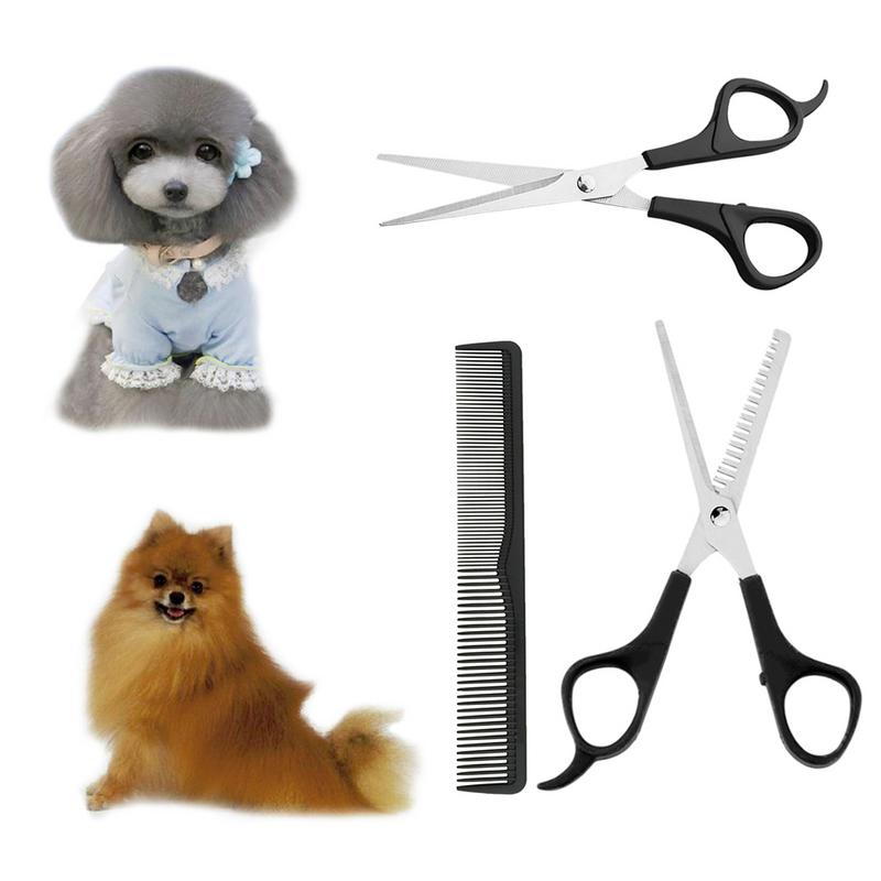 Rounded Tips Shear+Thinning Scissor+Comb/set  Pet Grooming Scissors Set Dog  Cat Professional Hair Cutting Tool