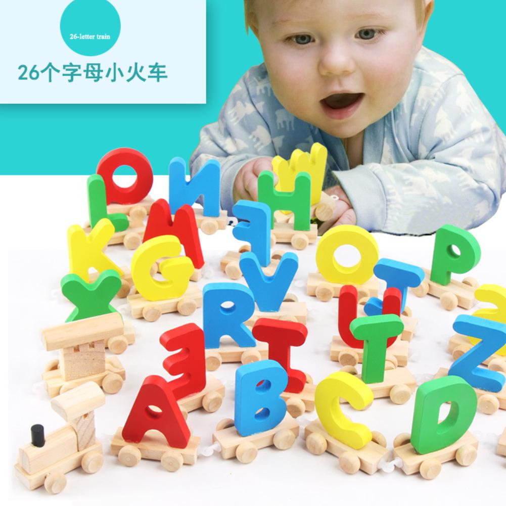 Kids Wooden Train Toy with English Letters Educational Assemble Alphabet Toy Baby Study Supplies for Language