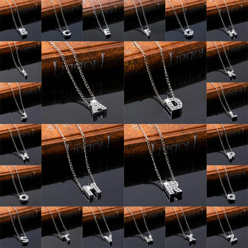 A-Z letter necklace choker custom name love crystal lovers necklace Creative chain collar Silver pendant Femme Women