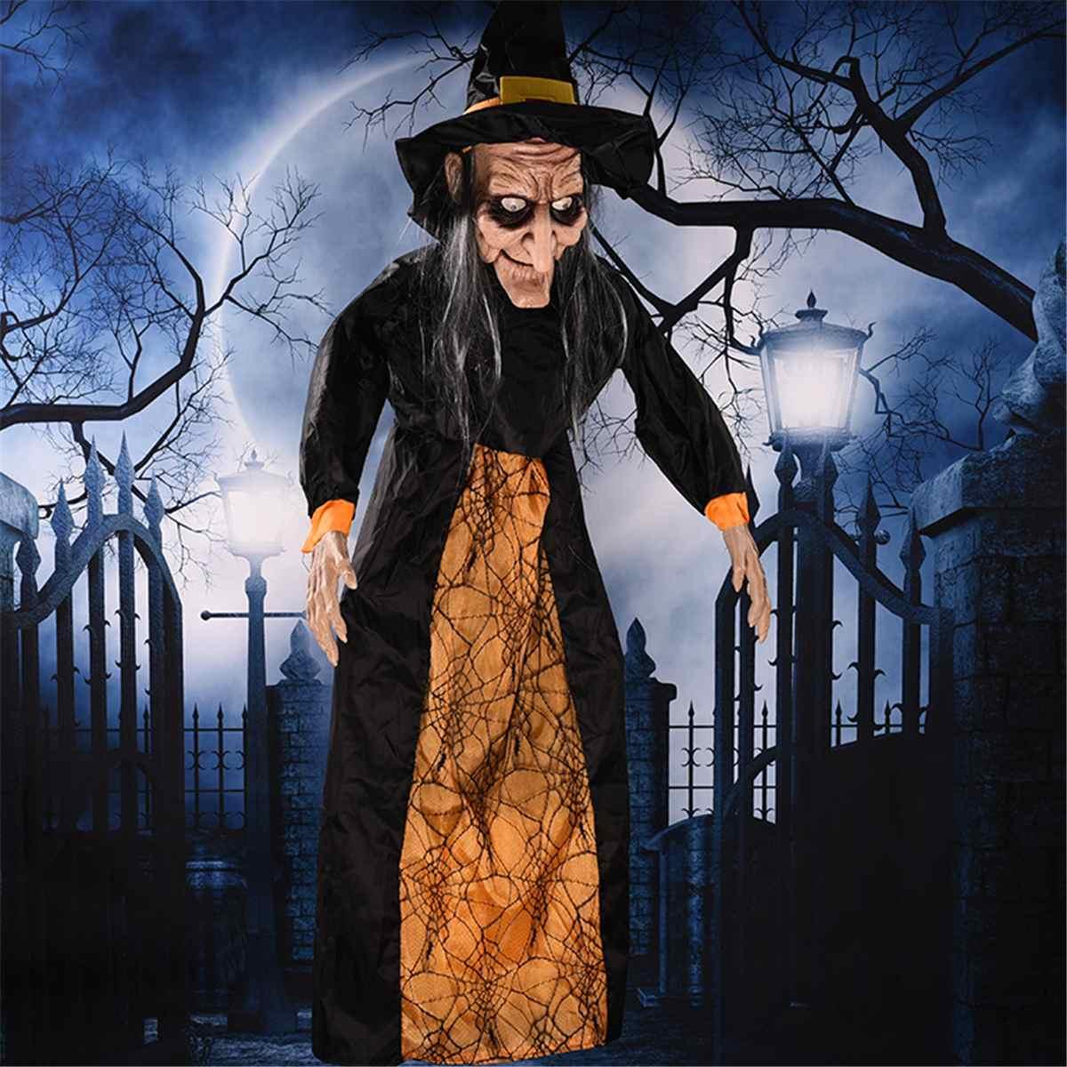 Nouveau Halloween Prop électrique suspendu sorcière Prop commande vocale rouge oeil animé sorcière fantôme Prop pour Halloween hantée maison décor