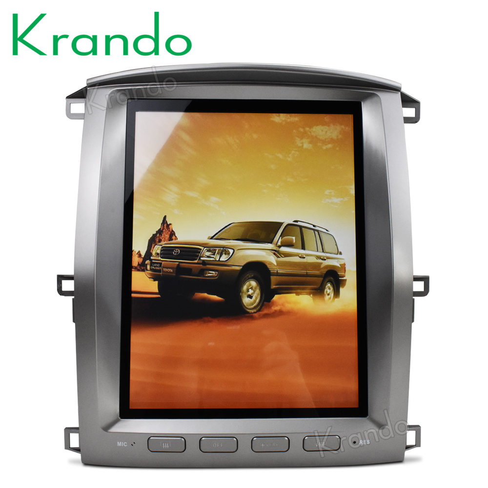 "Krando Android 6.0 12.1"" Vertical screen car audio radio player for Toyota Land Cruiser lc100 2002-2007 GPS navigation"