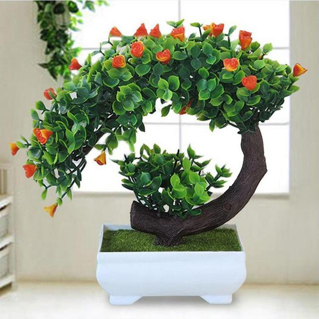 2018 New Artificial Plants Bonsai Small Tree Pot Fake Flowers Potted Ornaments For Home Decoration Hotel Garden Decor
