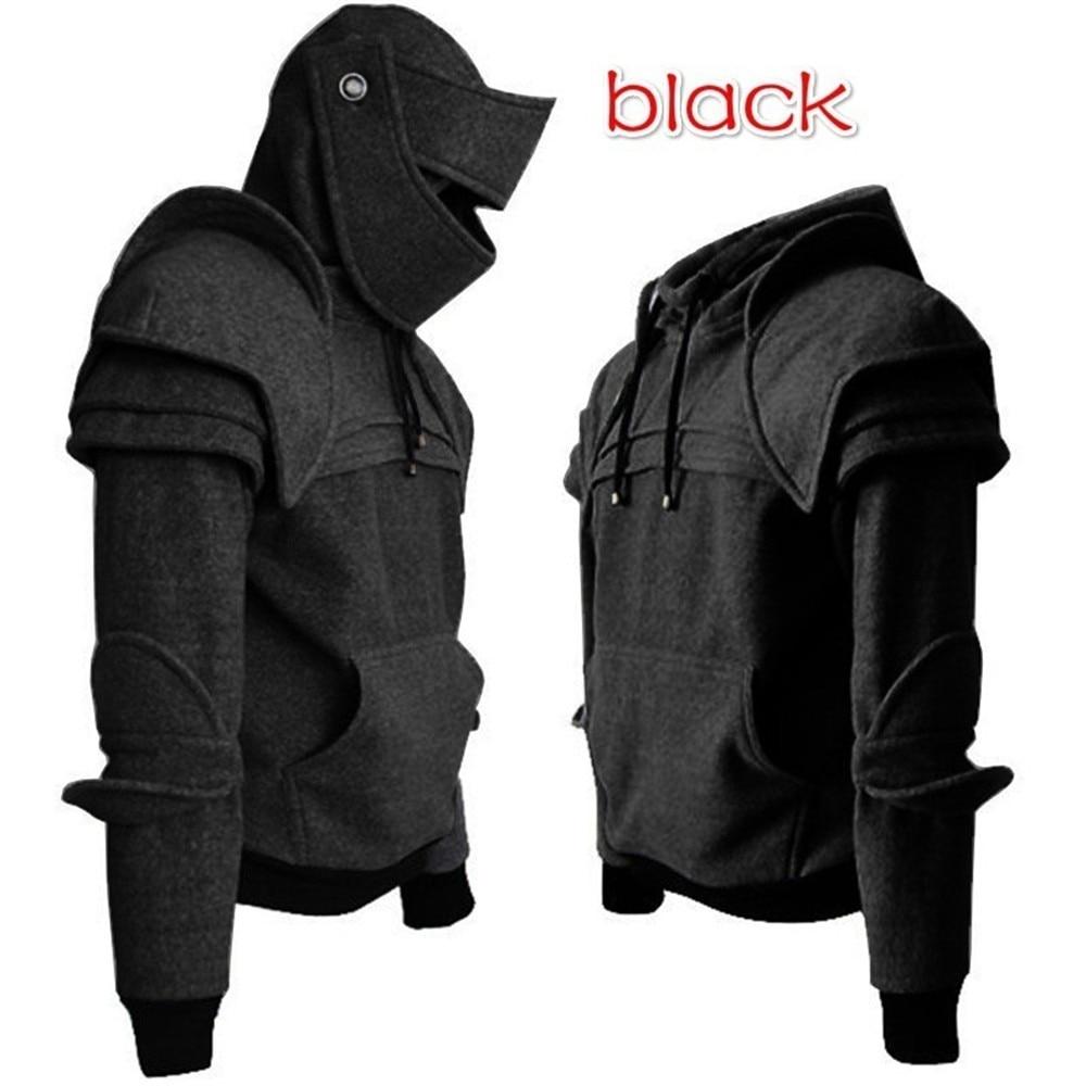 Cosplay medieval vintage warrior soldier knight mask armor knee Sweater top jacket Sweatshirt for men autumn winter men costumes