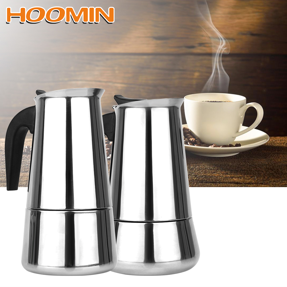 300mL450mL:  HOOMIN 300mL/450mL Coffee Pot Coffeeware Moka Coffee Maker Stainless Steel Teapot Kitchen Tools - Martin's & Co