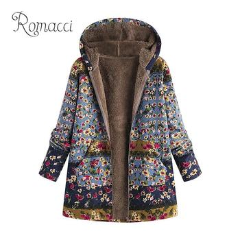 Woman Winter Coats and Jackets Women Plus Size Outerwear Floral Print Faux Fur Lining Hooded Top Long Sleeve Warm Winter Jacket
