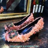 2019 кристалл Металл пчела Декор золотой каблук женские туфли лодочки аппликация атласа Rrtro перо высокие каблуки розовый черный весна лето же