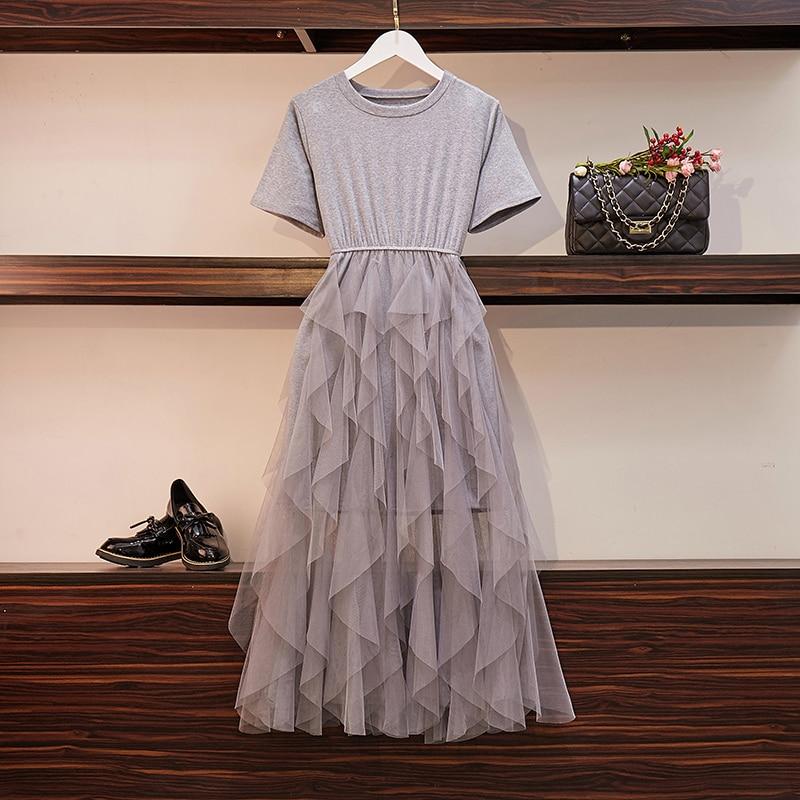 L-5XL grande taille femmes gâteau robe été 2019 à manches courtes coton Long t-shirt Patchwork maille à volants robes Midi dames
