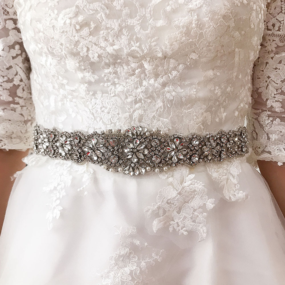 Handmade Rhinestone Crystal Belt Sash for Wedding Bridal Bridesmaids Dress Jewelry Sparkly Beaded Waistband for Women Fashion