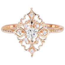 Ladies Ring Baroque Luxury Rose Gold Flower Wedding Ring(China)