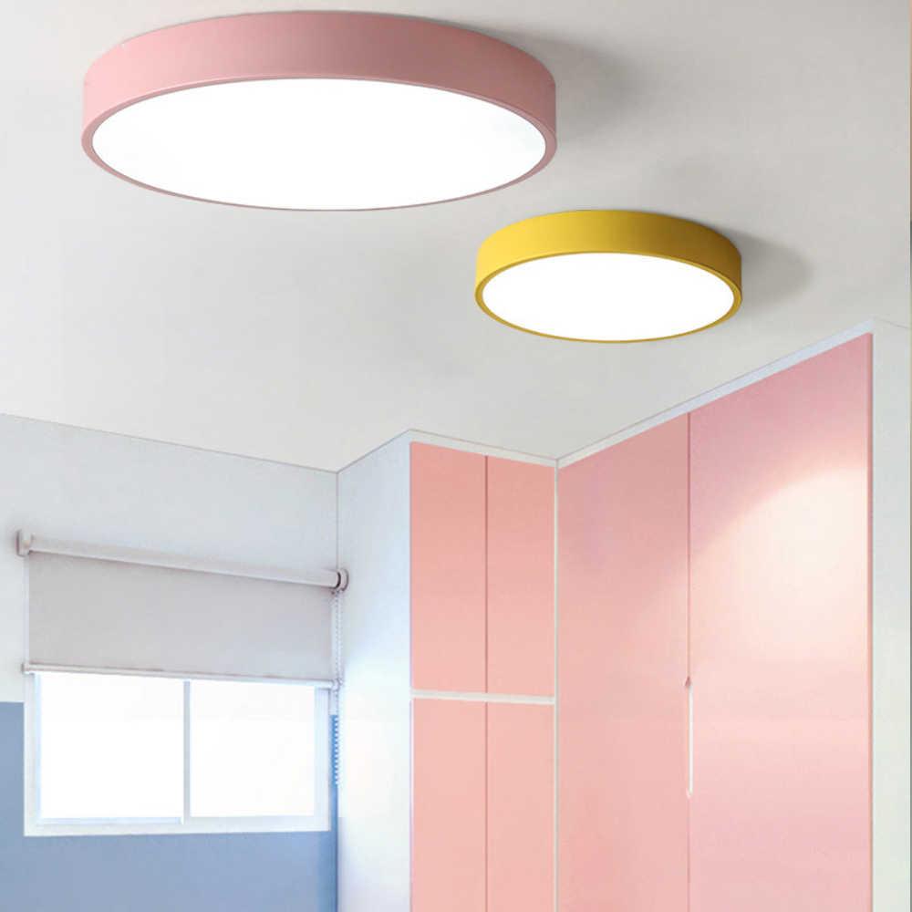 LED Luz de Teto Moderno Rodada 5 centímetros Super Fino lâmpada Sala de estar Quarto Cozinha Surface Mount Flush Painel de Controle Remoto macaroon