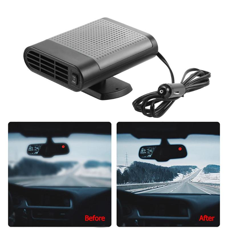 Car Vehicle Heater Fan Defroster Demister Winter with Rotary Holder Portable 12V Car Auto Heating Cooling Fan A - 3 Wide B