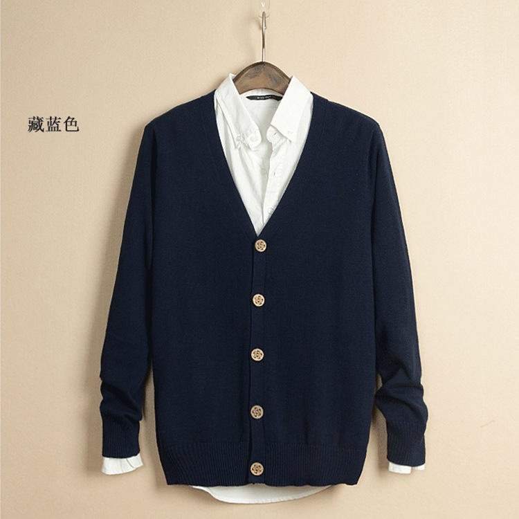 New Style Male Knitted Cardigan Men's Casual Solid Color Cardigan Fashion V-neck Sweater Work Clothes Coat