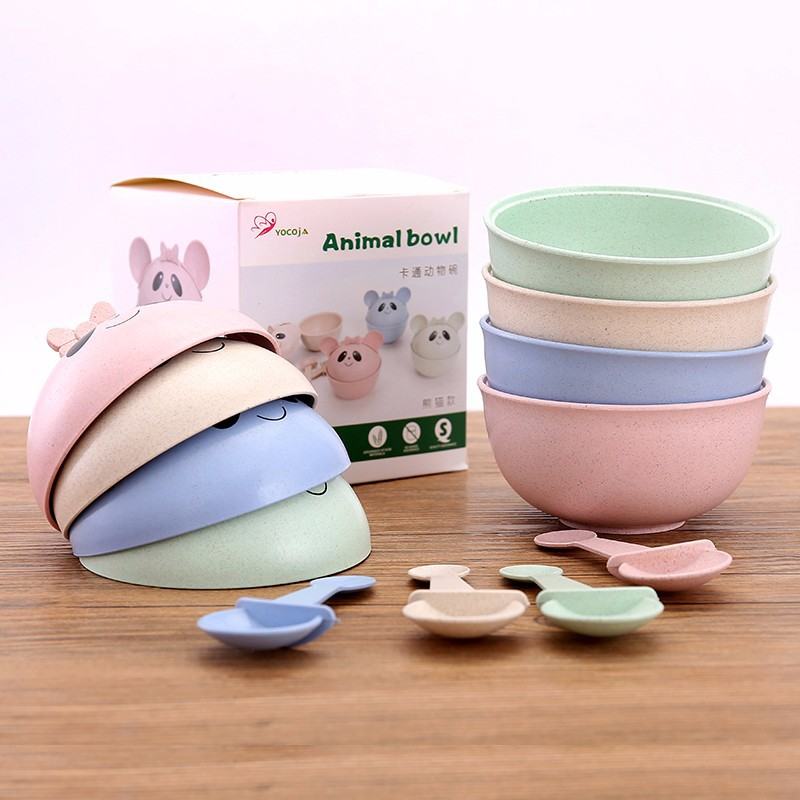 3pcs/set Panda Baby Bowl  Wheat Straw Kids Dinner Dishes Set Baby Cute Training Bowl