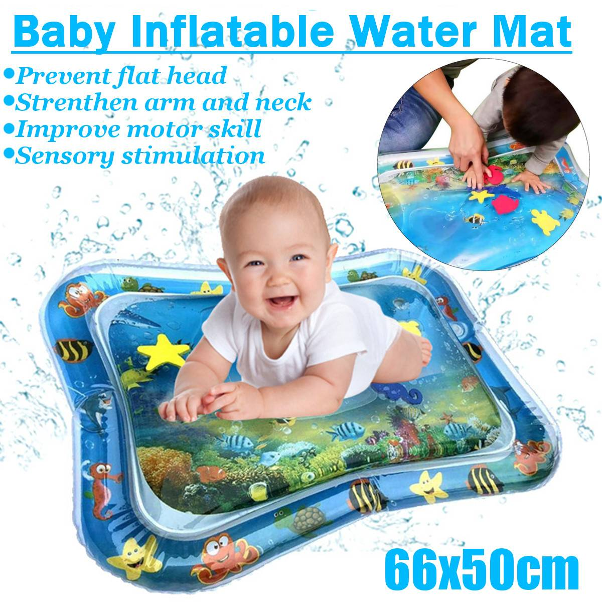 66*50cm Infant Children's Water Game Pad Inflatable Thickening PVC Children Fun Activity Game Baby Water Play Pad Baby Time