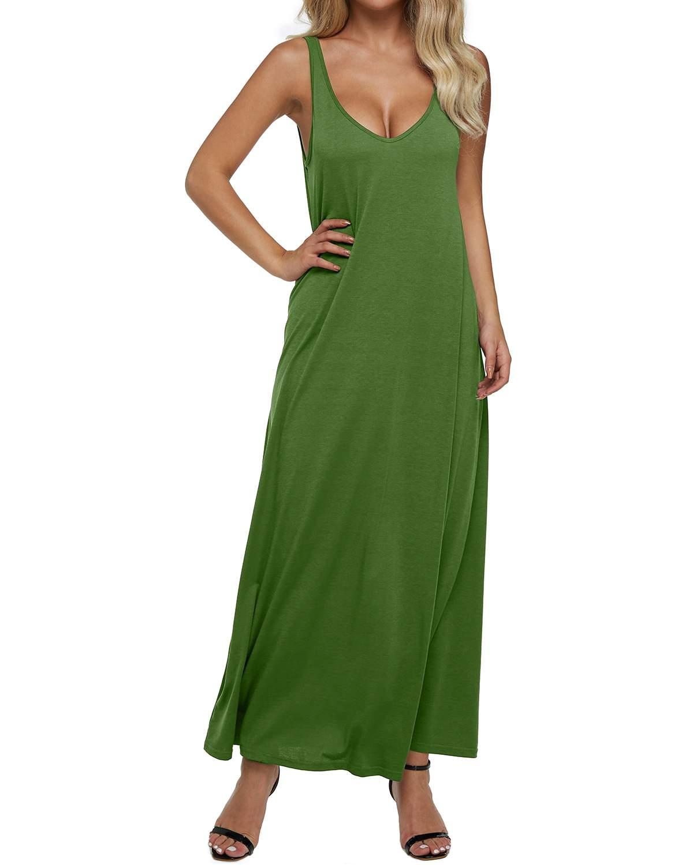 Cuello Verano En Plus Mujeres Sin Casual Maxi Oscuro Vestidos 2xl gris azul Green Tamaño rojo Negro Largo De Respaldo Las Sexy verde Fiesta púrpura Bodycon Mangas Suelto Sólido olive Vestido V z8nIwqr8