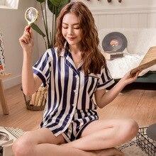 Conjunto de Pijama con pantalón corto para Mujer, Pijama de satén a rayas, informal, de seda, para el hogar, primavera 2019
