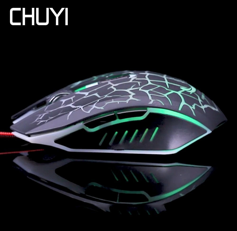 CHUYI Gaming Mouse LED Flash Blacklight Change Optical Ergonomic Game 1600 DPI Gamer Mause For PC Laptop Computer Price $11.24