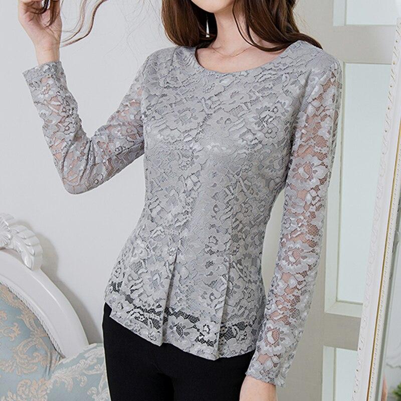 Fashion Hollow out lace   blouse     shirt   2018 Autumn winter long sleeve white   blouse   women top Elegant ruffle female   blouse   814i5