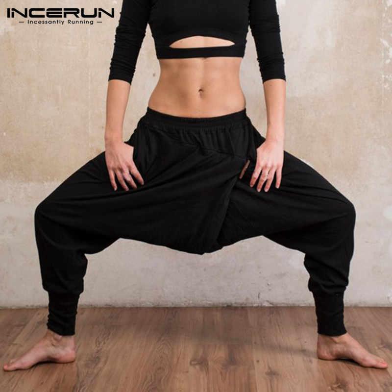 7f8f9a80c26d6 ... INCERUN Men's Harem Pants Joggers Pockets Loose Drop Crotch Trousers  Men Hip-hop Comfy Pants ...