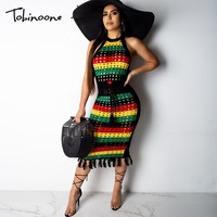 Tobinoone Stripe Embroidery Beach Dress Summer Women Halter Casual Backless Sundress Sexy Tassel Hollow Out Mini Dress 2019 New