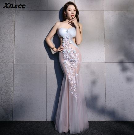 Embroidery perspective Voile 2018 new Women s elegant long gown party proms for gratuating date ceremony