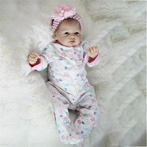 Image 1 - 비비 다시 태어난 22 inch 부드러운 실리콘 비닐 인형 55cm 다시 태어난 아기 인형 신생아 살아있는 bebe reborn 인형 생일 선물